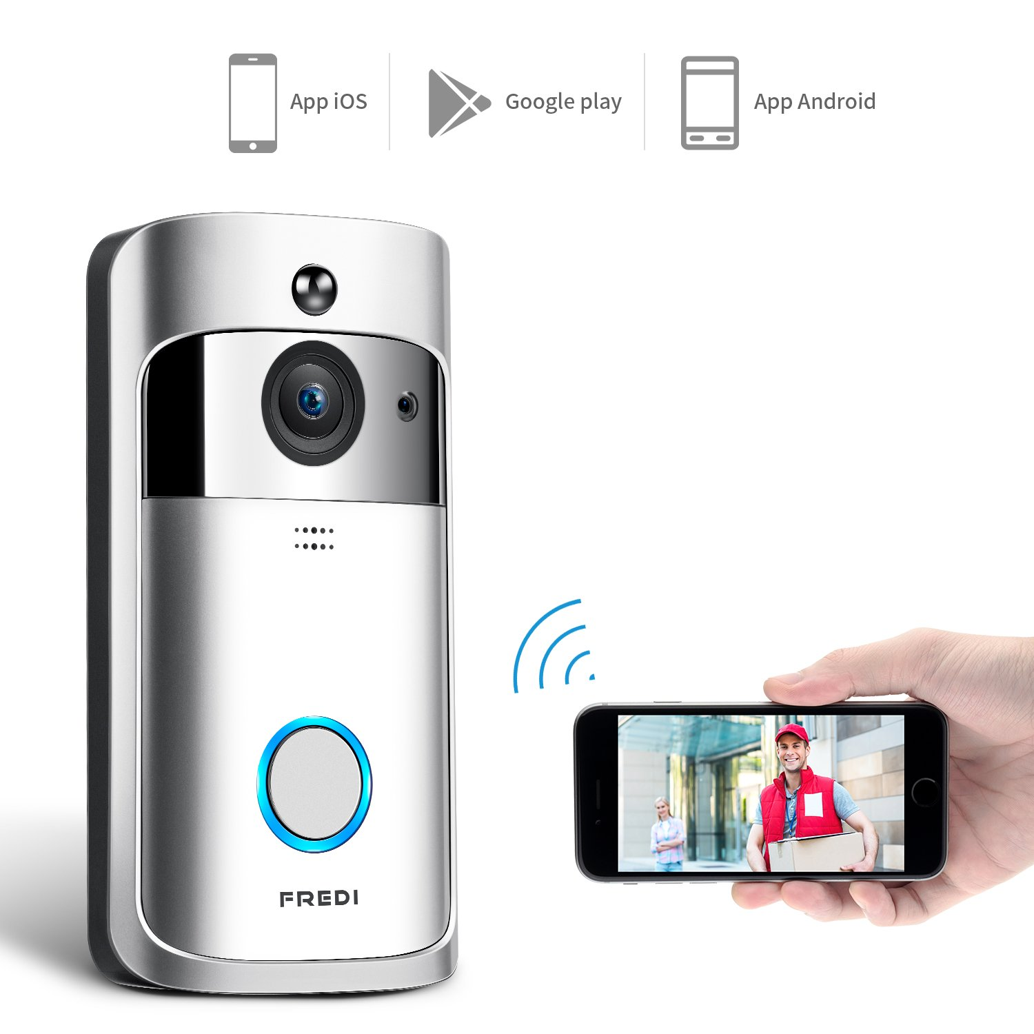 WIFI Video Doorbell, FREDI Smart Doorbell 720P HD Security Camera Real-Time Two-Way Talk and Video, Night Vision, PIR Motion Detection and App Control for IOS and Android
