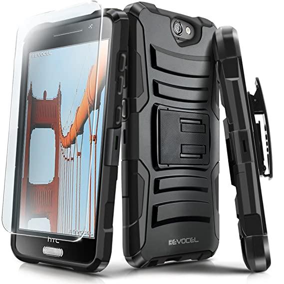 HTC One A9 Case, Evocel [Generation Series] Belt Clip Holster, Kickstand,  HD Screen Protector, Dual Layer for HTC One A9, Black (EVO-HTCA9-AB201)