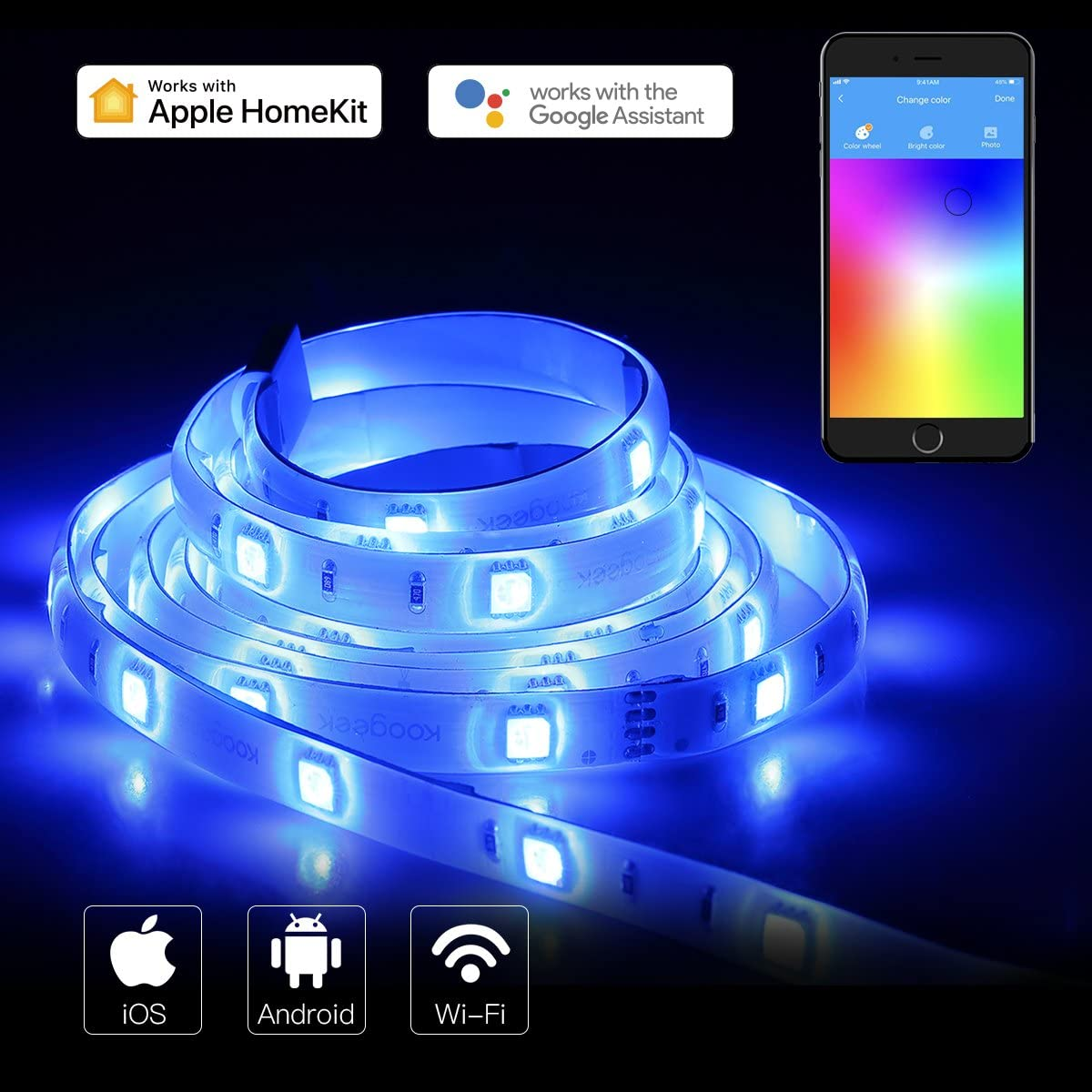 Koogeek Led Smart Wifi Strip 2m Dimmerabile luce 1600 colori Compatibile con Alexa Echo Google Assistant e Apple Homekit IP65 Telecomando impermeabile Alimentato da USB Funziona a 2.4 Ghz ideale per interni e feste