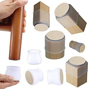 Small to Large Silicone Chair Leg Floor Protectors, Chair Leg Caps Silicon Furniture Leg Feet Protection Cover w/Felt Pads Bottom Anti-Slip Prevent Scratches Fit Round Square (Fit: 1.5-1.9 Inch)
