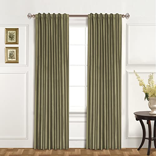 United Curtain 100-Percent Dupioni Silk Window Curtain Panel, 42 by 120-Inch, Sage