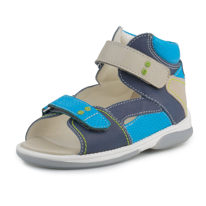 Memo Monaco Children's Corrective Orthopedic AFO Sandal, Gray/Blue, 27 (10 M US Little Kid)