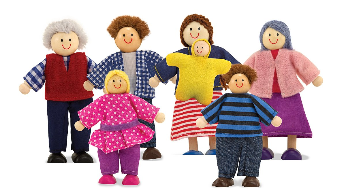 Melissa & Doug 7-Piece Poseable Wooden Doll Family for Dollhouse (2-4 inches each) 2464