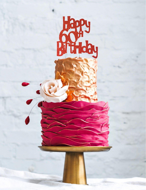 LissieLou Happy 60th Birthday Cake Topper Glitter Gold