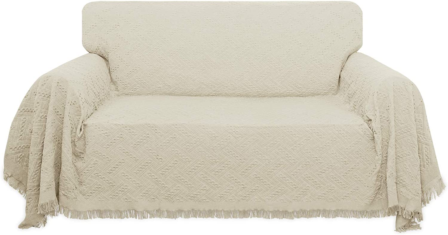 Easy-Going Geometrical Jacquard Sofa Cover, Couch Covers for 3 Cushion Couch, L Shape Sectional Covers for Dogs, Washable Luxury Bed Blanket, Furniture Protector for Pets,Kids(71x 118 inch,Ivory)