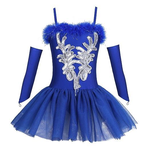 YiZYiF Mädchen Ballettanzug Ballettkleid Ballett Trikot Turnanzug Tanz-Kleider Kinder Ballettbekleidung im Set Gr. 104-152