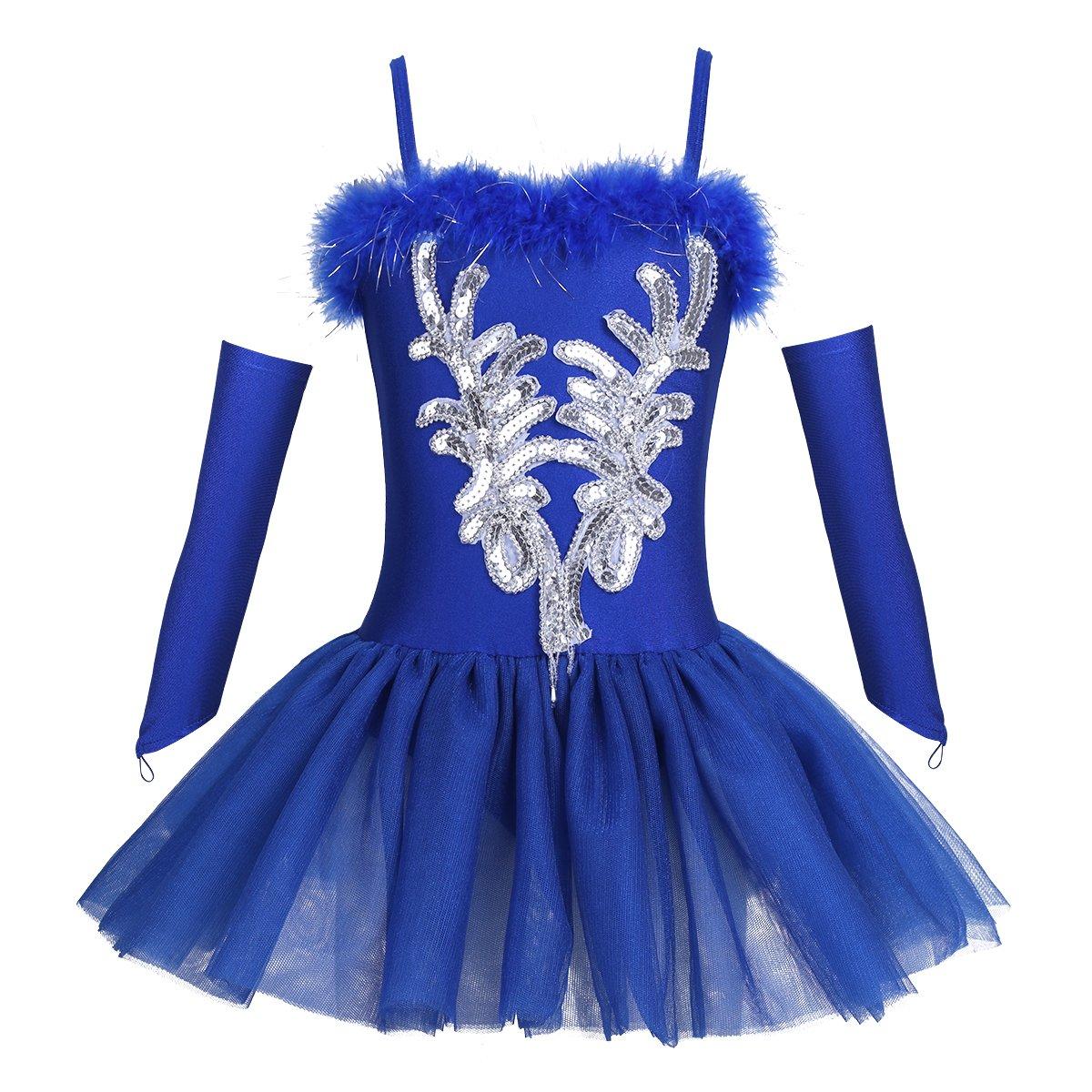 TiaoBug Girls Sequined Beads Swan Ballet Dance Leotard Spaghtetti Tutu Dress Costume with Gloves Hair Clip (4-5, Blue)