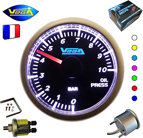 VEGA Manom/ètre Pression dhuile 0-10 Bars Affichage num/érique et LEDs 52 mm Marque Fran/çaise