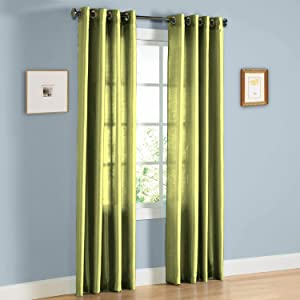"Gorgeous Home 1 Faux Silk Window Curtain Panel 55"" by 84"" Inch Solid Sage Green 8 Bronze Grommets Mira"