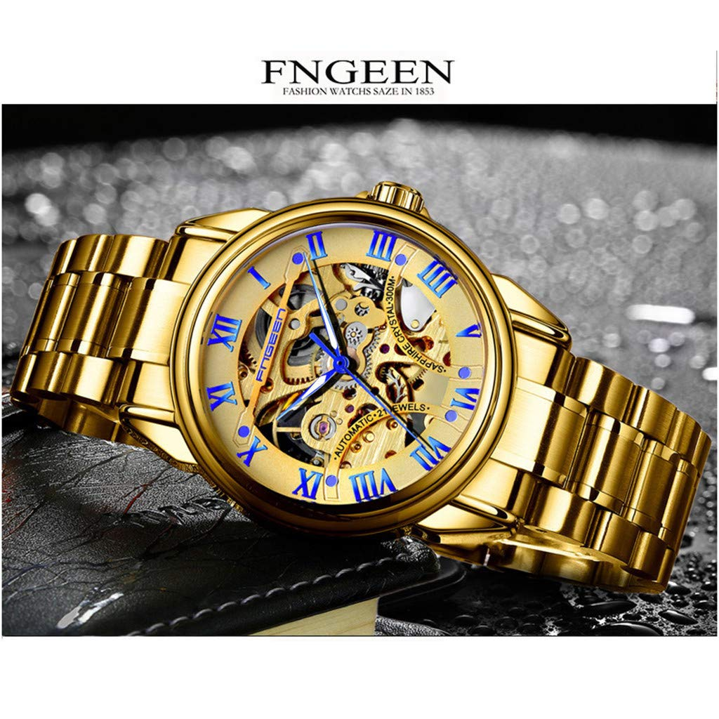 LUXISDE Men's Watches Wrist Watch for FNGEEN Water Resistant Stainless Steel Watch Automatic Mechanical Men Watch 133 by LUXISDE (Image #2)