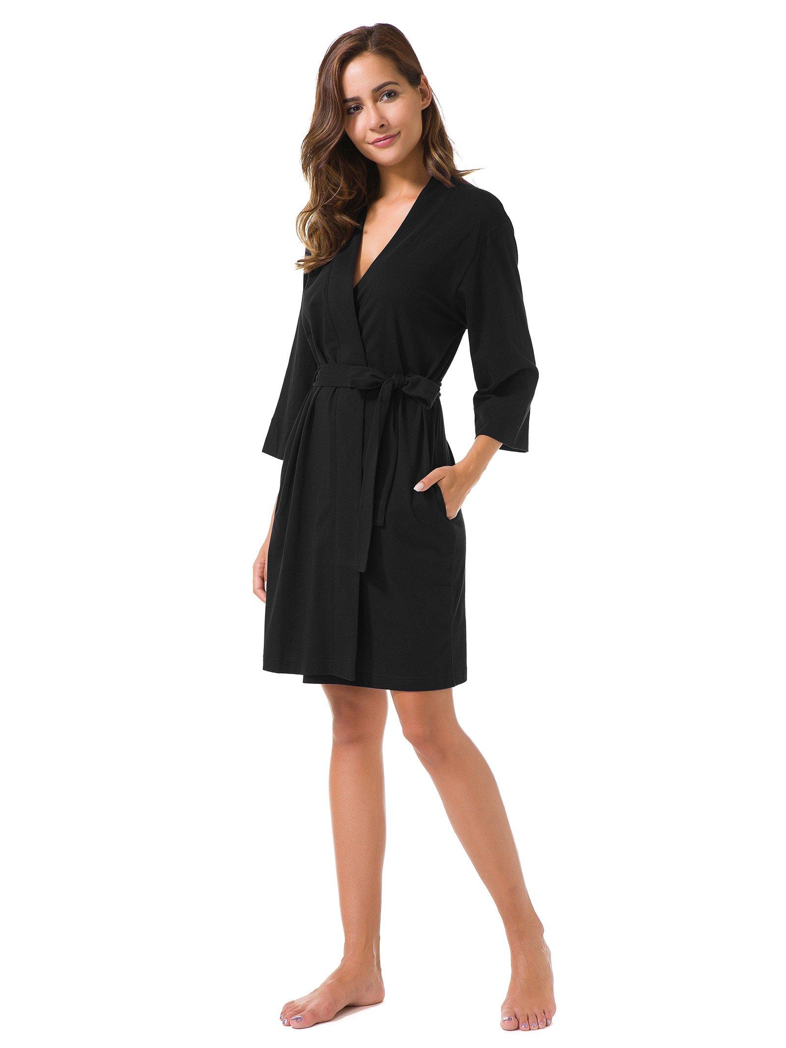 SIORO Cotton Robes Lightweight Kimono Robe Gowns Soft Knit Bathrobe Nightwear V-Neck Loungewear Sexy Sleepwear Short for Women, Black, S by SIORO (Image #3)