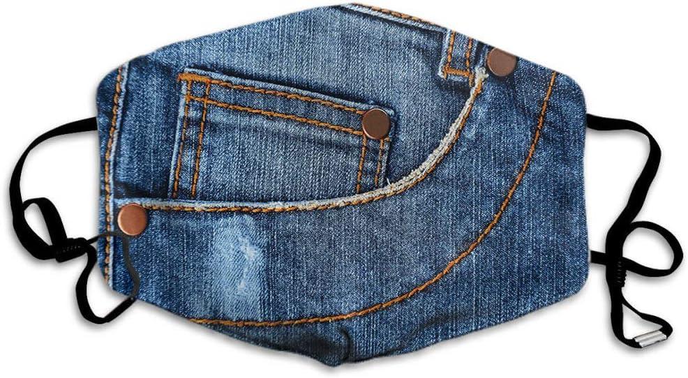 F Blue Mask Classic Fashion Jeans Bolsillo Pantalones de tela para la boca, unisex, reutilizable, lavable, poliéster antipolvo, para hombres y mujeres al aire libre