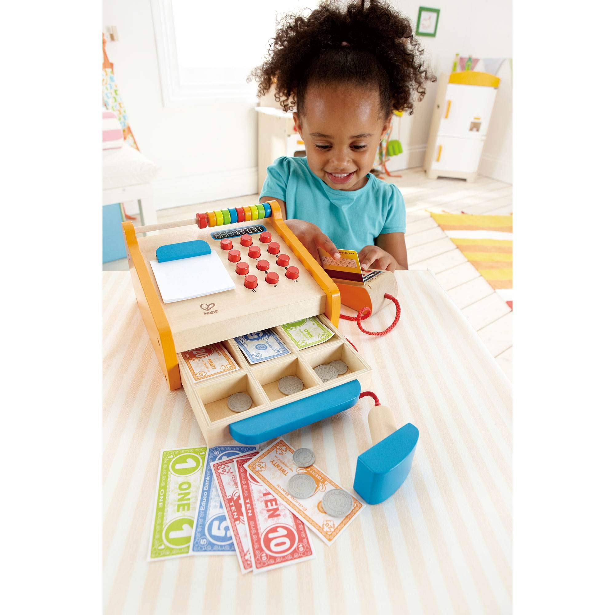 Hape Toys Kids Wooden Cash Register Pretend Playset Wooden Shopping Cart by Hape (Image #1)