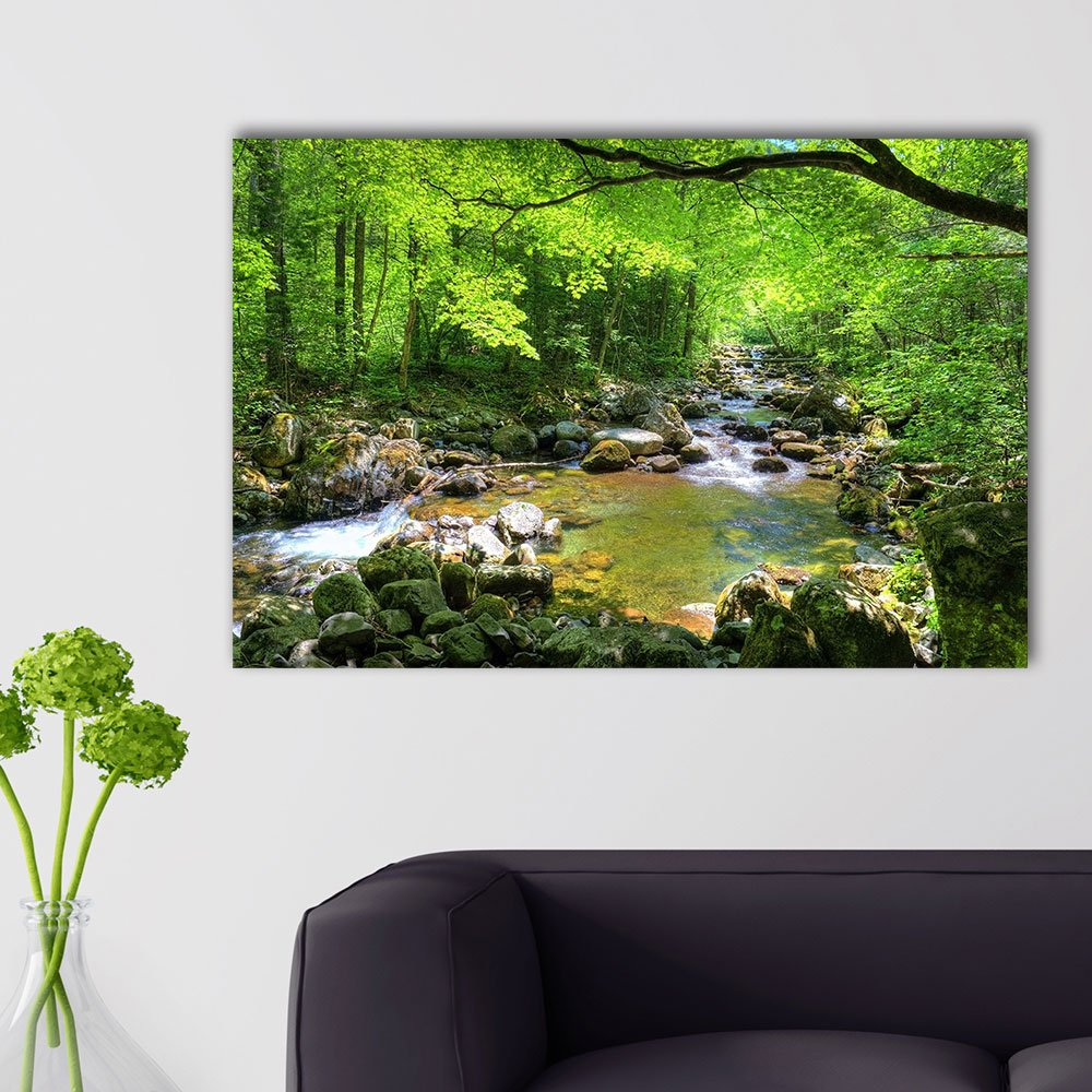 Canvas Prints Wall Art - Beautiful Landscape/Scenery Forest Stream Smolny in Russian Primorye Reserve in Autumn/Fall | Modern Wall Decor/Stretched Gallery Canvas Wraps Giclee Print & Ready 32x48