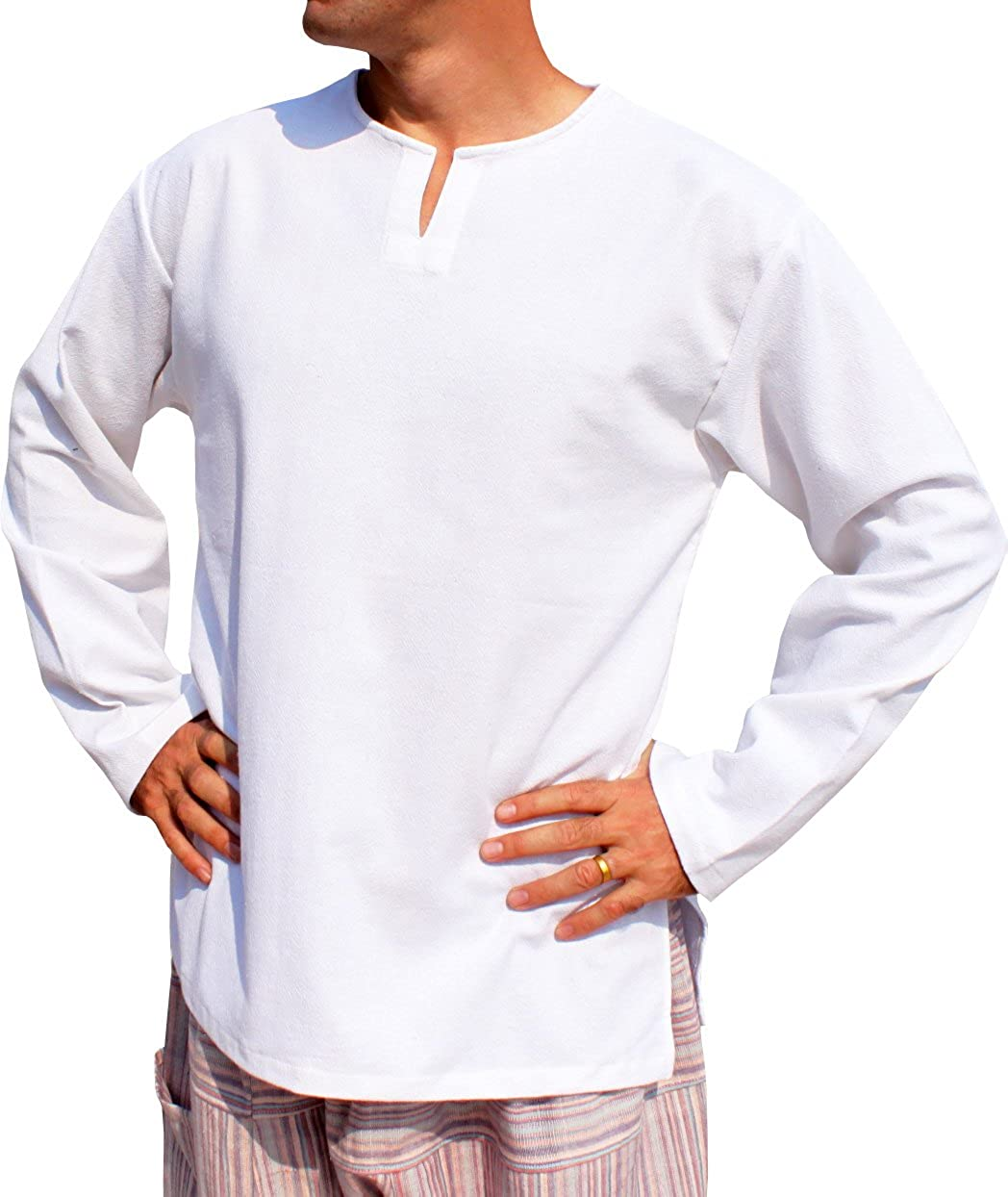 RaanPahMuang Open Collar Long Sleeve Farmers Shirt Plain Warm Cotton Side Slits