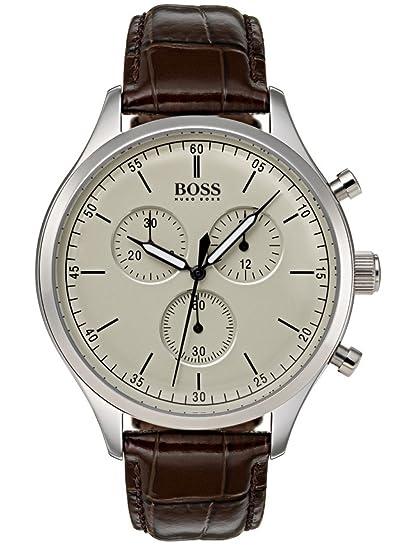 Hugo BOSS Reloj Cronógrafo para Hombre de Cuarzo con Correa en Cuero 1513544: Amazon.es: Relojes