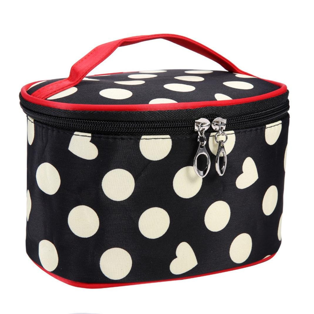 DZT1968 Handle Round Dot Large Cosmetic Bag Travel Makeup Organizer Case Holder With Mirror (White)