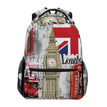 950ec8937b68 Image Unavailable. Image not available for. Color  WXLIFE London Big Ben UK  British Flag Backpack Travel School Shoulder Bag ...