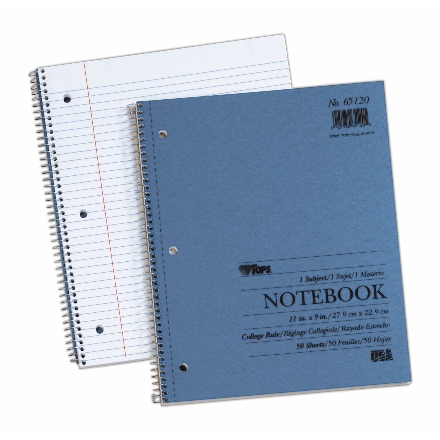 TOPS Kraft Cover Notebooks, 9 x 11 Inches, 3-Hole Punched, College Rule, 50 Sheets, Blue Covers, Box of 24 (65120)