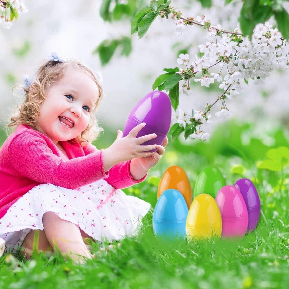 Xin Lot de 24 /œufs de P/âques vides en plastique /à remplir D/écoration de P/âques Pour la chasse aux /œufs de P/âques 6 x 4 cm Cadeaux et bonbons pour enfants