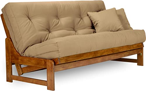 Arden Futon Set – Full Size Futon Frame with Mattress Included 8 Inch Thick Mattress, Twill Khaki Color , Heavy Duty Wood, Popular Sofa Bed Choice