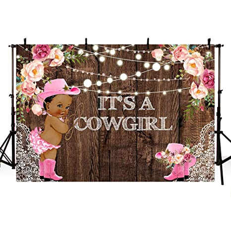 Mehofoto It S A Cowgirl Baby Shower Backdrops For Photography Rustic Wood Lace Pink Floral Girl Baby Shower String Lights Pink Boots Hat Rodeo Party