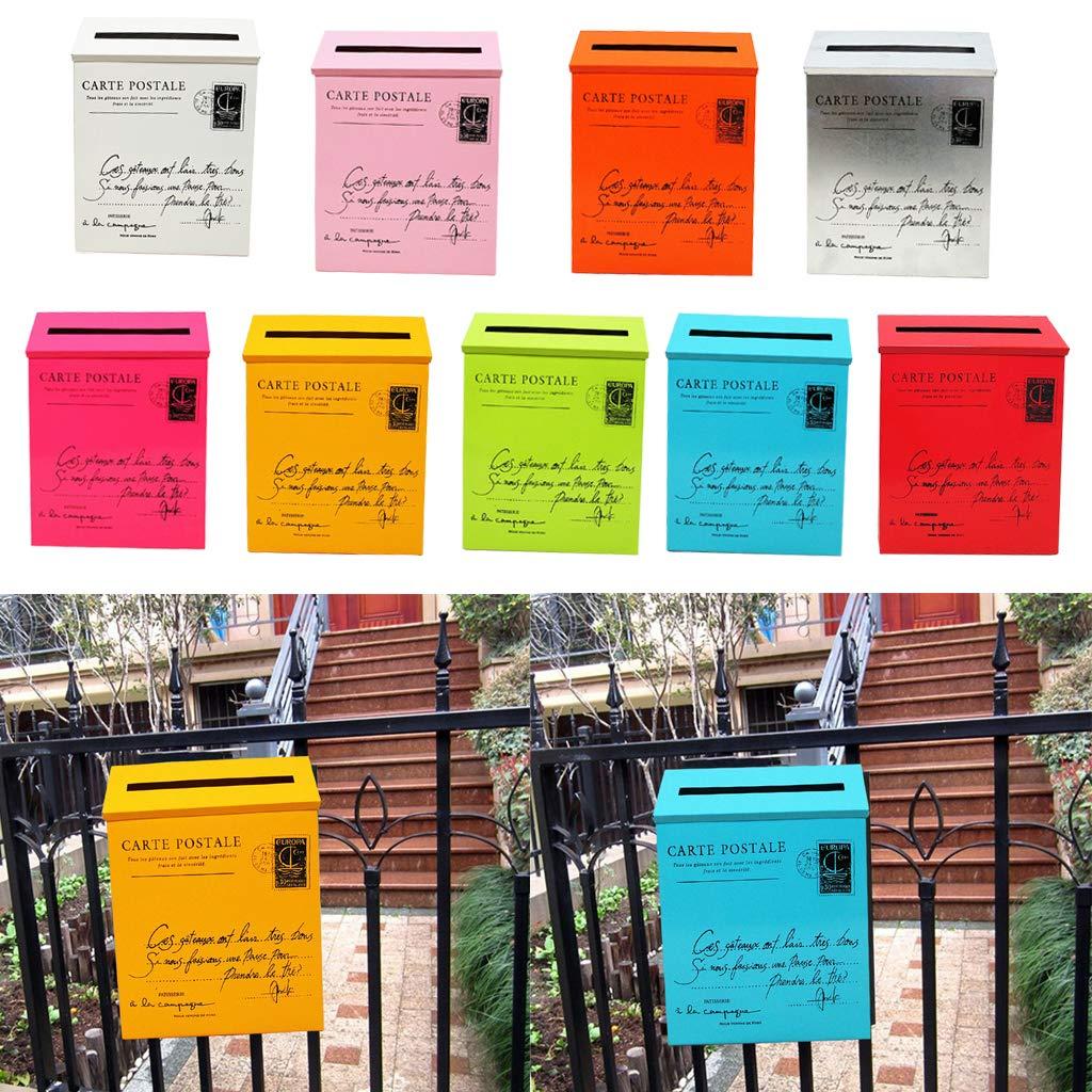 SM SunniMix Buz/ón de Correos al Aire Libre Caja de Seguridad Impermeable Estilo Vintage de Colores Gris