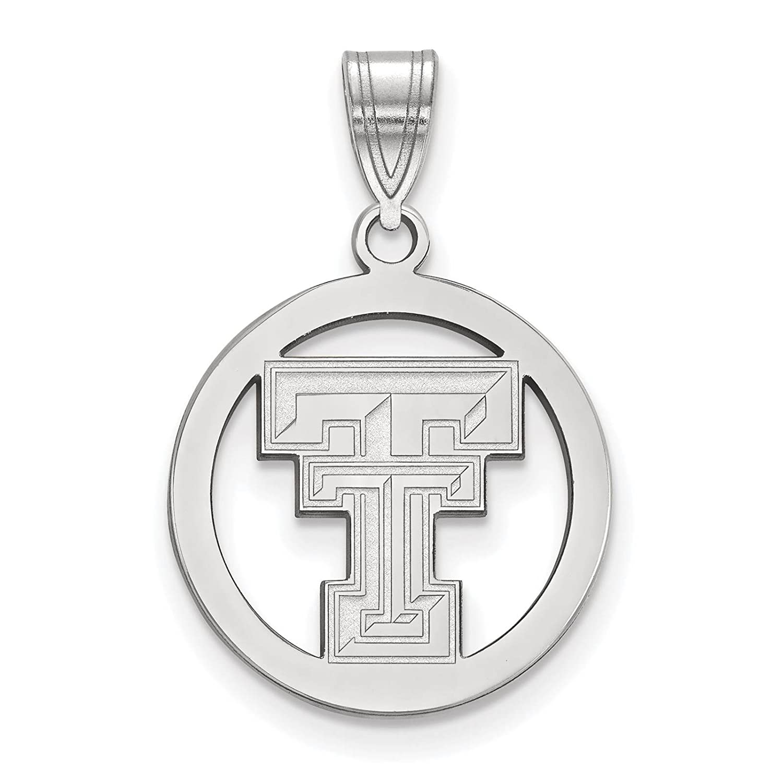 925 Sterling Silver Rhodium-plated Laser-cut Texas Tech University Small Circle Pendant