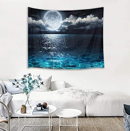 LB Night Sky Tapestry Full Moon on Sea Tapestry Wall Hanging Fantasy White Cloud Tapestry Watercolor Tapestry Wall Art for Bedroom Living Room Dorm Wall Decor, 92.5Wx70.9H inches