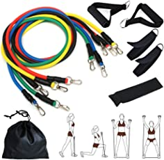 CUXUS 11 Pcs Resistance Band Set With 5 Exercise Bands Door Anchor Foam