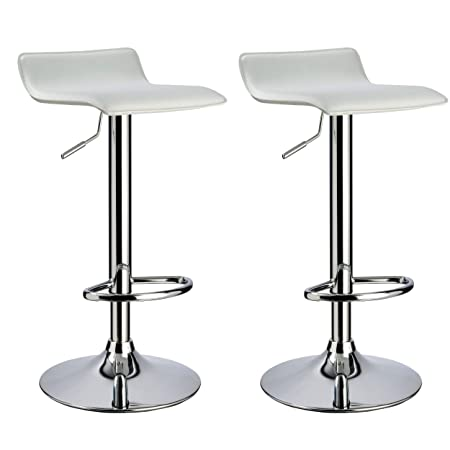 Duhome Elegant Lifestyle Bar Stool WY-118 Curved Adjustable with PVC Leather Seat Set of 2 Bar Chair White