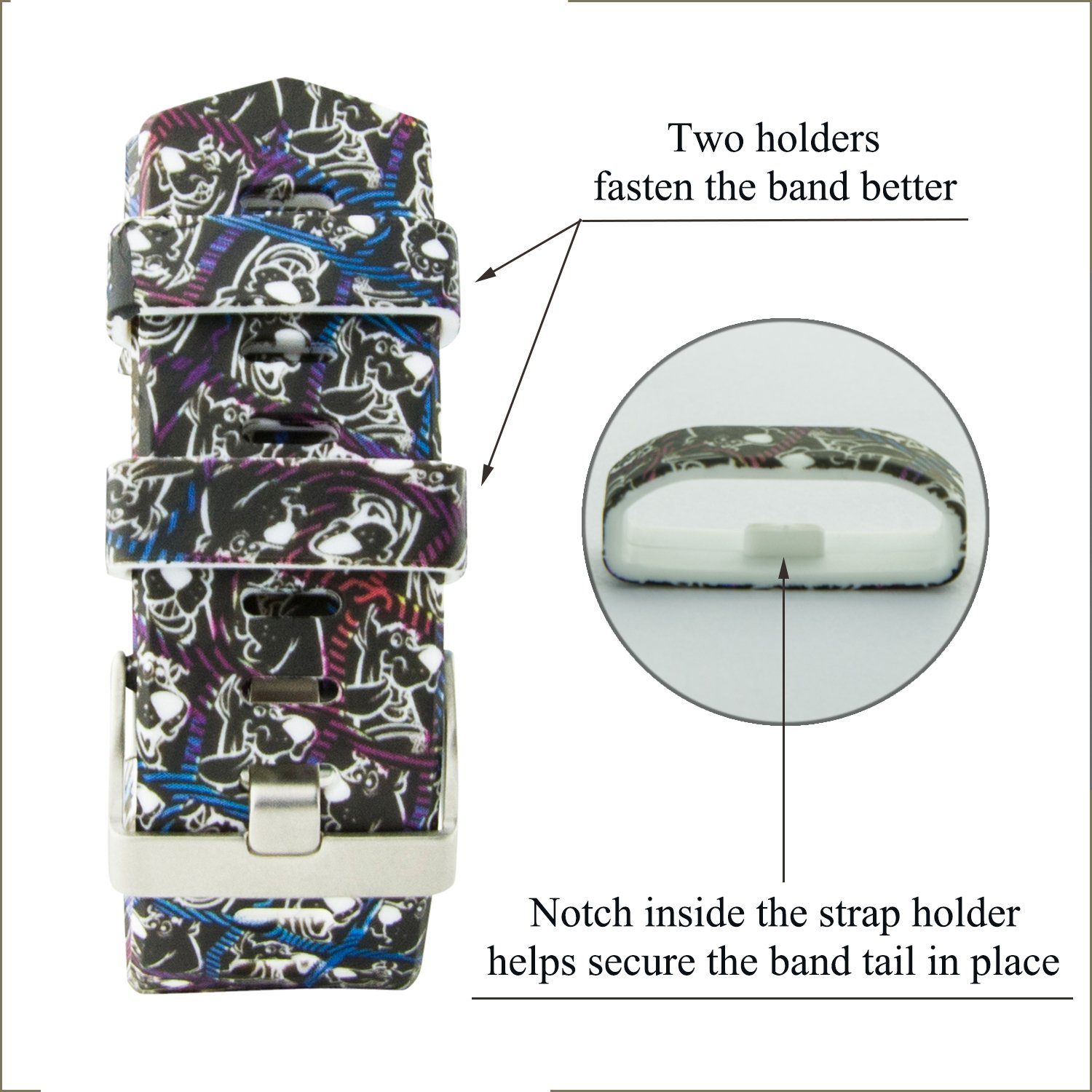 Fitbit Charge 2 Band,Soft Silicone Adjustable Replacement Sport Strap Floral Design Bands with Classic Buckle Fitness Accessory Wristband for Fitbit Charge2 (Pattern-4,Large (Wrist 6.5\