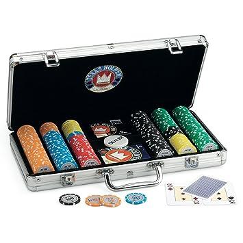 Juego Pro Team 300 - Maletín de Poker I Poker Set I Poker Incluye Cartas de Poker Texas Holdem, 300 fichas, Dealer y Timer - Aluminio