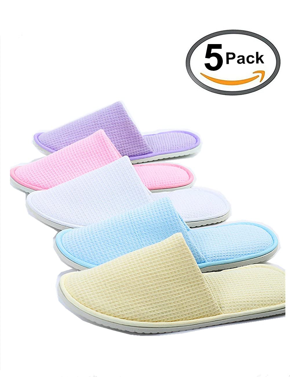 Eucoz 5 Pairs Waffle Spa Slippers Guest Slippers of Mix Colors, Closed Toe, Portable and Disposable