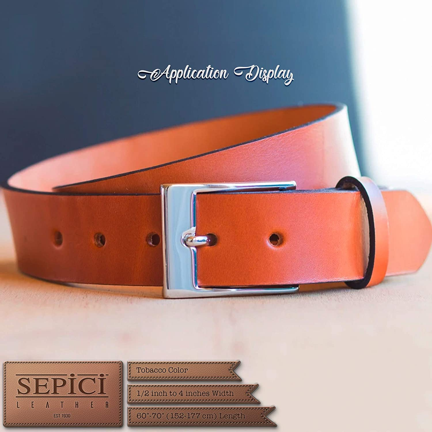 Heavy Weight 68-72 Inches Long by Sepici 1-1//2 Leather Strap Tobacco 1//2 Inch to 4 Wide