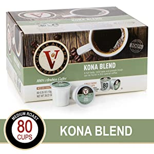 Kona Blend for K-Cup Keurig 2.0 Brewers, 80 Count, Victor Allen's Coffee Medium Roast Single Serve Coffee Pods