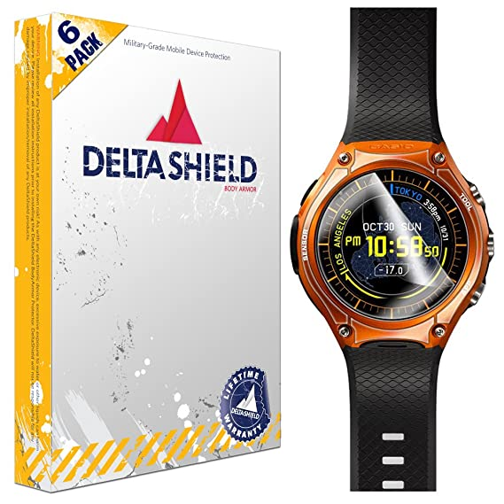 DeltaShield Screen Protector for Casio Smart Outdoor Watch (WSD-F10)(6-Pack) BodyArmor Anti-Bubble Military-Grade Clear TPU Film