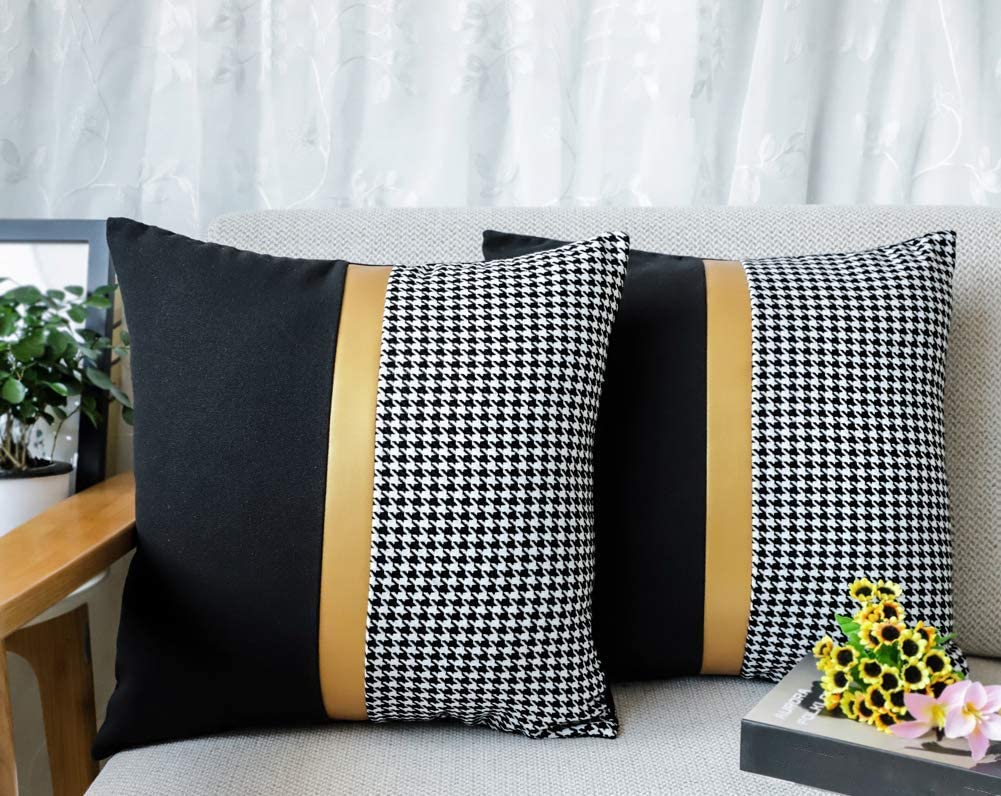 Sambosk Set of 2 Houndstooth Leather Stitching Throw Pillow Case Cushion Cover Home Decor Cotton Polyester 18 x 18 Inches Gold Black White