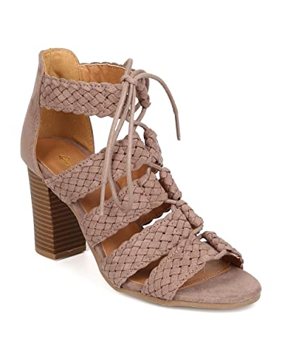 0aad225d3b79 Qupid Women Faux Suede Open Toe Braided Strappy Lace Up Chunky Heel Sandal  FC36 - Taupe