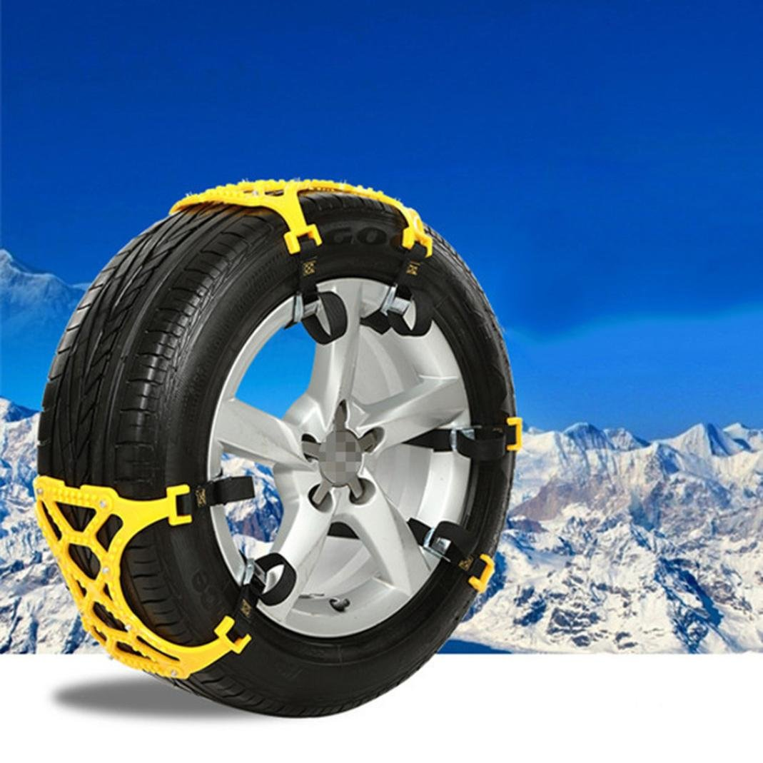 Tire Anti-skid Belt,Tuscom Winter Truck Car Trailer Snow Chain,Tire Width 165- 265 MM, Easy Installation,For snow,snow mud,sand (Yellow /1PC)