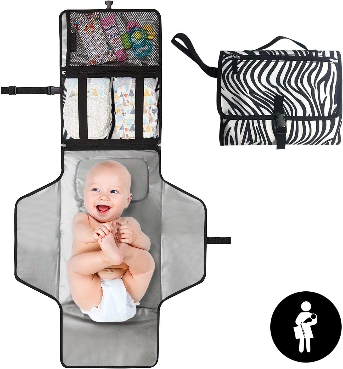 Baby Stuff for Newborn Foldable Detachable and Wipeable Outdoor Diaper Changing Pad Portable Nappy Changing Mats Waterproof Travel Changing Pad with Mesh and Zippered Pockets