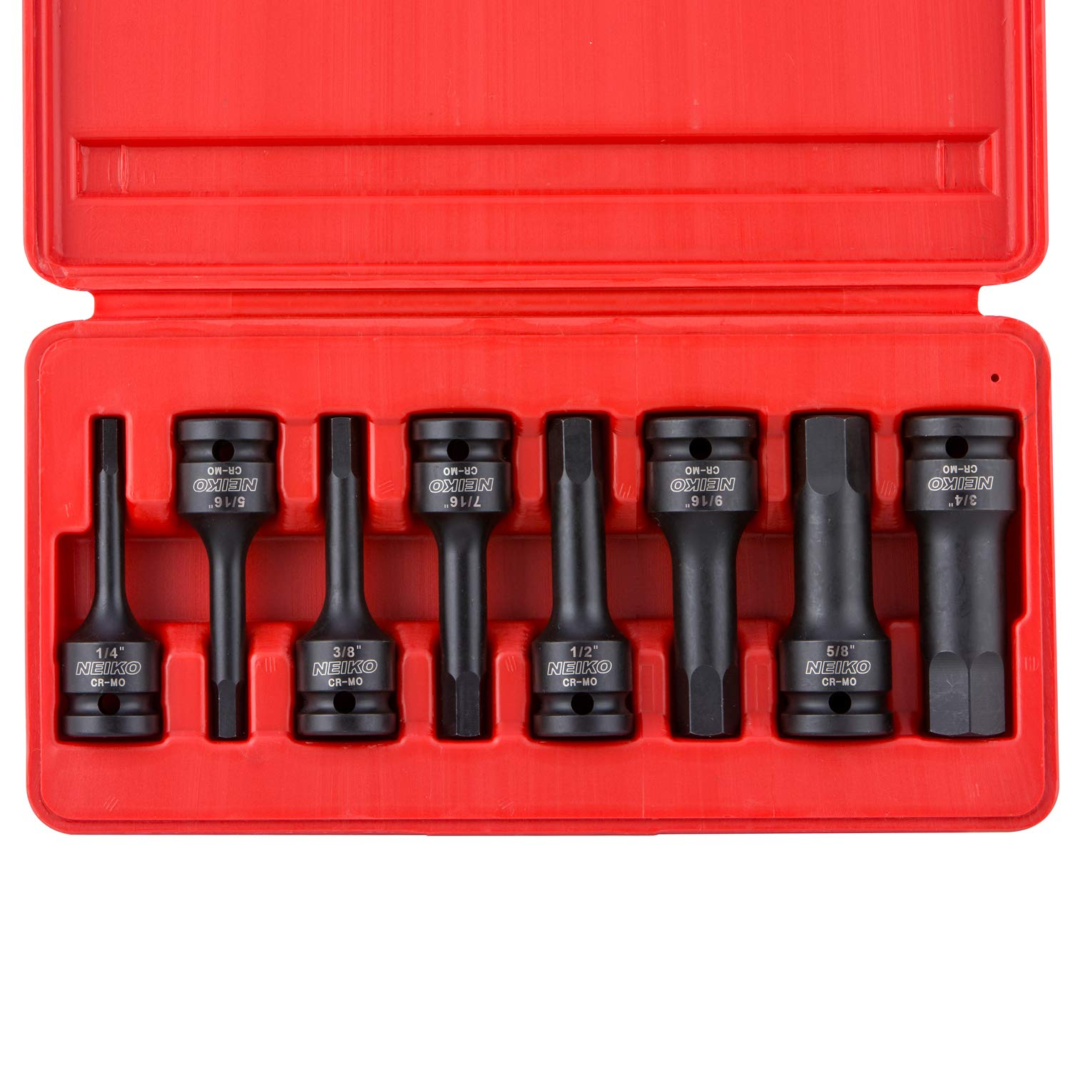 Neiko 01137B 1/2-Inch Drive SAE Allen Hex Impact Socket Set, 1/4 Inch - 3/4 Inch, Cr-Mo | 8-Piece Set
