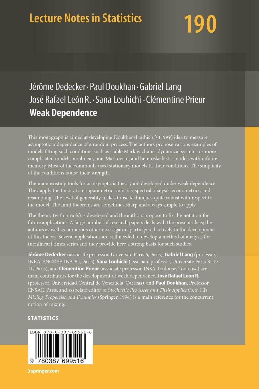 Weak Dependence: With Examples and Applications: 190 (Lecture Notes in Statistics)