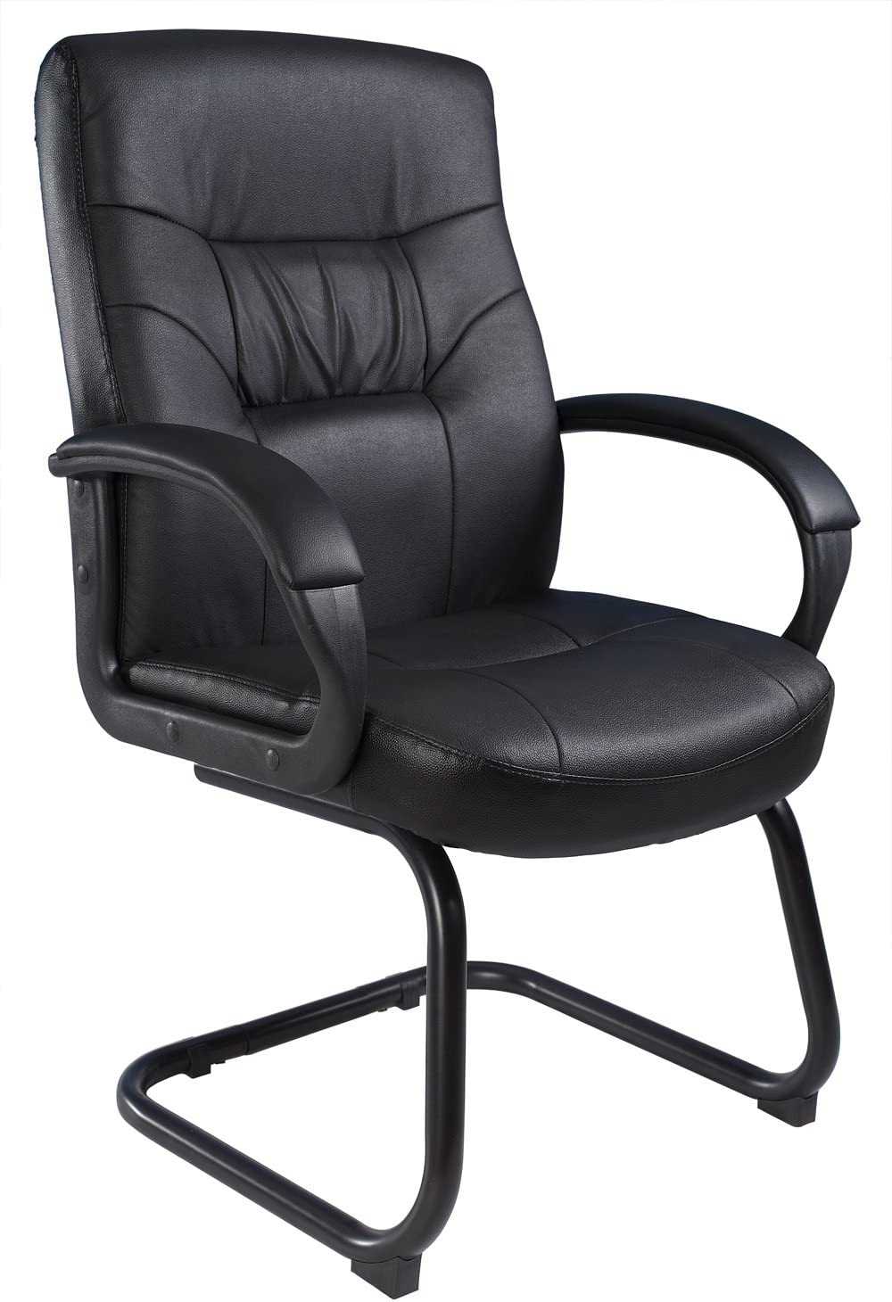 Boss Office Products Executive Mid Back LeatherPlus Guest Chair with Cantilver Sled Base in Black