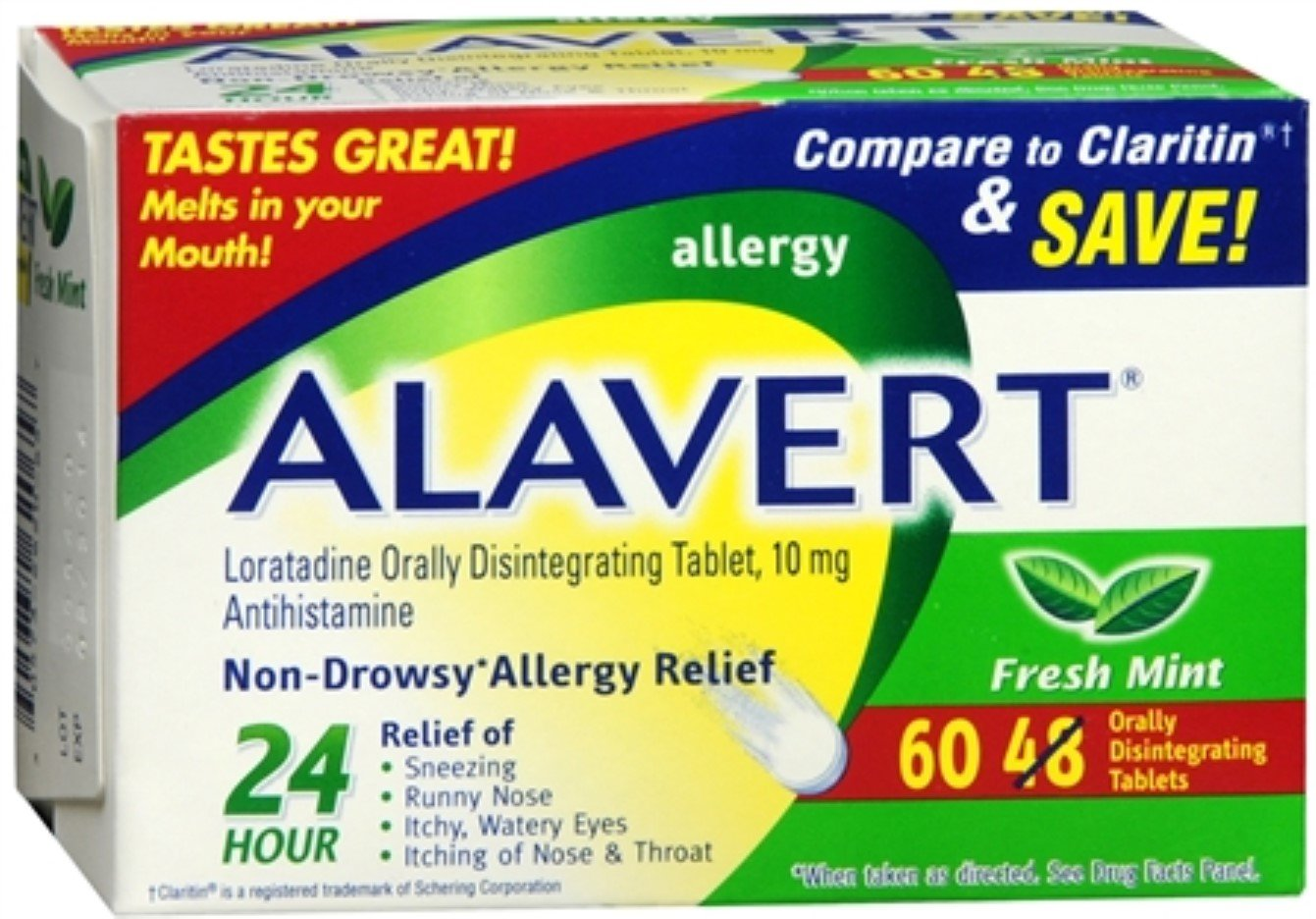 Alavert 24 Hour Orally Disintegrating Tablets Fresh Mint 60 Tablets (Pack of 5) by Alavert