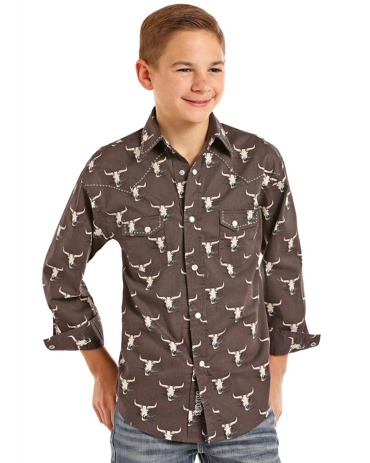Rock & Roll Cowboy Boys' and Poplin Longhorn Skull Print Long Sleeve Western Black Medium