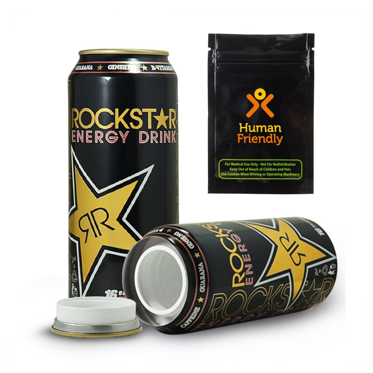 Rockstar Energy Drink Diversion Safe Stash Can 16 oz w HumanFriendly Smell-Proof Bag