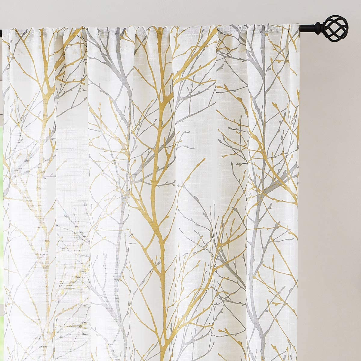 """Fmfunctex Branch Print Semi-Sheer Curtains for Living Room Bedroom 63"""" Yellow Grey on White Linen Textured Window Treatment Set for Rod Pocket 50"""" Width x 2 Panels"""