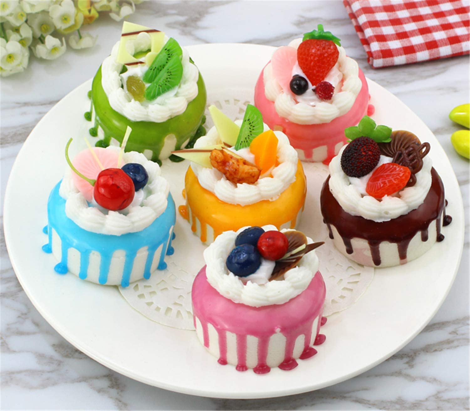 Skyseen 6pcs Realistic Artificial Simulation Cake Assorted Faux Fake Food Model Home Kitchen Staging Party Toy Dessert Photography Props Home Decoration Display Cake