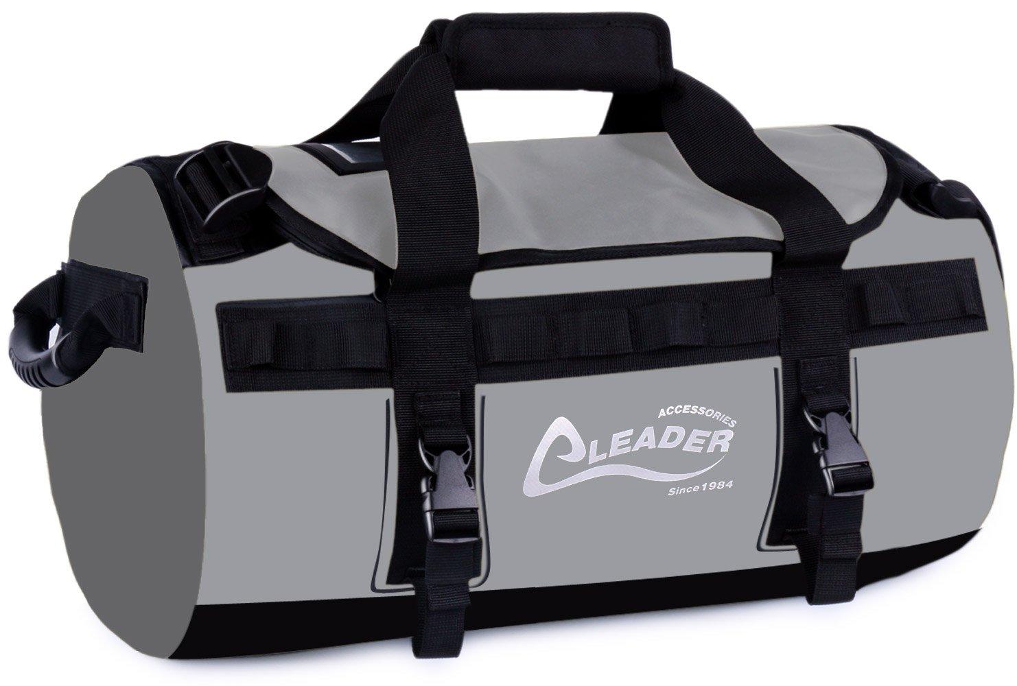 Leader Accessories Deluxe Water Resistant PVC Tarpaulin Duffel Bag Backpack (Grey, 40L) by Leader Accessories